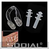 SODIAL(R) Clear Wht Silicone Earplug + Nose Clip Set for Swimming - SODIAL Retail Packaging