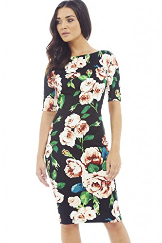 Ax Paris Women'S Bright Colored Floral Print Three Quarter Sleeve Black Dress(Black, Size:4)