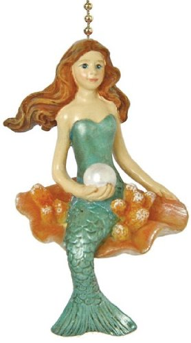 Coastal Mermaid Siren of the Sea Ceiling Fan Light Pull Chain