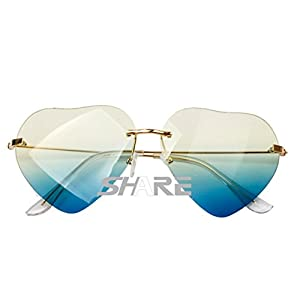 GodBless Lady Side-Rimless Mosaic Flowers Fashion Sunglasses(K1)
