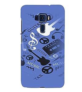 PrintVisa Music Guitar Quotes 3D Hard Polycarbonate Designer Back Case Cover for ASUS ZENFONE 3 Deluxe