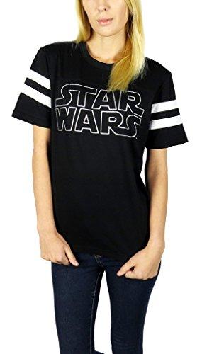 Star Wars Womens Logo Varsity Football Tee Large Black