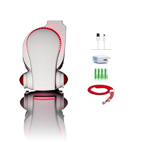 Next Generation Rechargeable Fan Cool on the Go Recharge with LED Lights ECO Friendly Mini USB Fan / Stroller Fan / Infant Seat Fan / Desk Fan / Necklace Fan / Hands Free Personal Air Cooling System Small Fan Includes Lanyard, Micro USB Cable, USB AC Wall Charger & 4 AA Rechargeable Batteries - 1