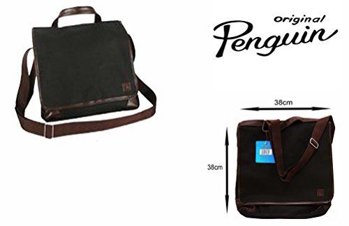 original-penguin-messenger-tasche-mit-2-facher-komplett-gefuttert-schwarz-braun-dunkelviolett