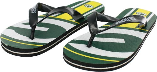 Green Bay Packers Kids' Unisex Big Logo Flip Flop Sandals, Large (3-4c) at Amazon.com