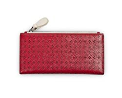Citta Design Top Grain Punched Leather Wallet in Gift Box, Cherry/Periwinkle