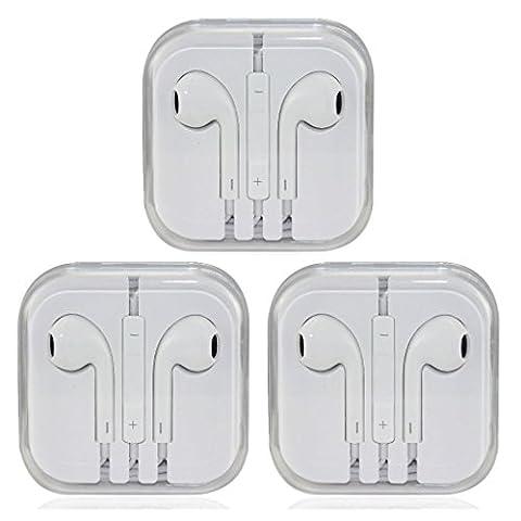 3x Earphone Earbud Headset Headphone w/ Volume Control For Apple iPhone 6 5 5s