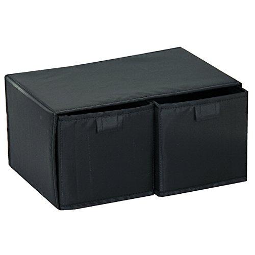 Mondex EVE727-01 Boîte de Rangement avec 2 Tiroirs Tissu/Plastique Noir 44 x 20 x 3 cm