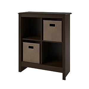 Altra 4 Cube Storage Cubby Bookcase With 2 Storage Bins Resort Cherry Finish