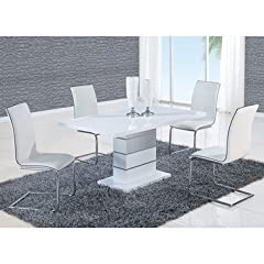 Global Furniture USA D470 Dining Table, White High Gloss