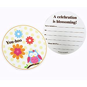 Owl Blossom Invitations (8) from Birthday Express