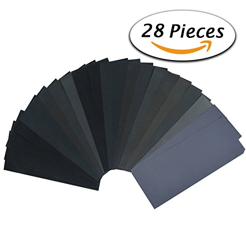 28 Pcs 120 to 3000 Grit Wet Dry Sandpaper 9 3.6 Inches for Automotive Sanding, Wood Furniture Finishing, Wood Turing Finishing (150 Grit Wet Dry Sandpaper compare prices)