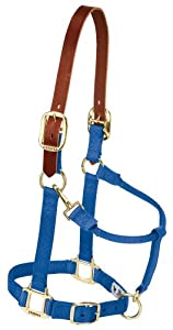 Weaver Leather Breakaway Original Adjustable 3/4-Inch Weanling/Pony Chin and Throat Snap Halter, Blue
