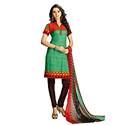 Anjali Presents Latest Green and Black Printed Dress Material with Dupatta