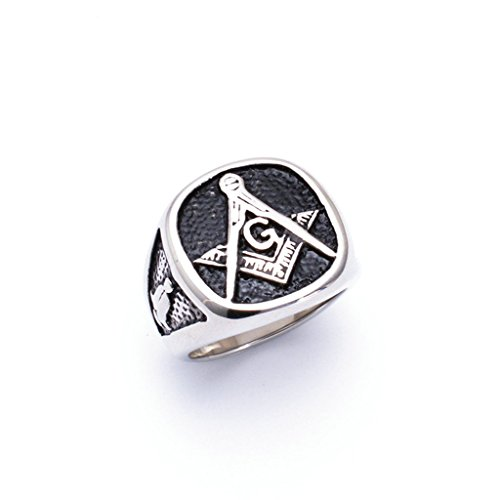 [Men's 316L Stainless Steel Punk Freemasons Totem Ring Silver Size 13] (Lion Costume Philippines)