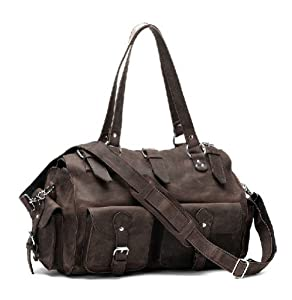 Kattee Fashion Traveler's Real Cowhide Leather Travel Duffle Bag Tote
