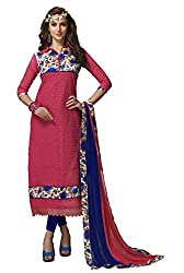 Dress Material Chanderi Pink Embroidered + Lace Unstitched