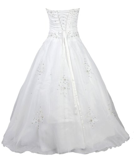 Faironly White Strapless Formal Wedding Dress Prom Gown (S)