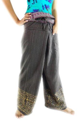 [CandyHusky's Printed Fisherman Pants Casual Hippie Boho Yoga Pants Cotton (Brown)] (Festival Street Dance Costume)