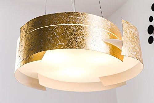 Lampadario Novara, colore oro con elementi in onde ondulate, altezza regolabile