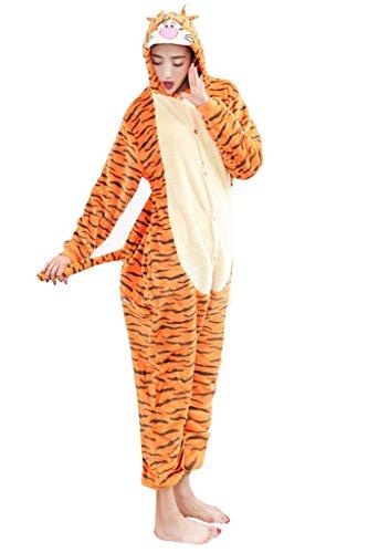[I'MQueen Women's Costume Flannel Animal Cartoon Onesie Adult Pajamas for Adult] (Tigger Costume Teenager)
