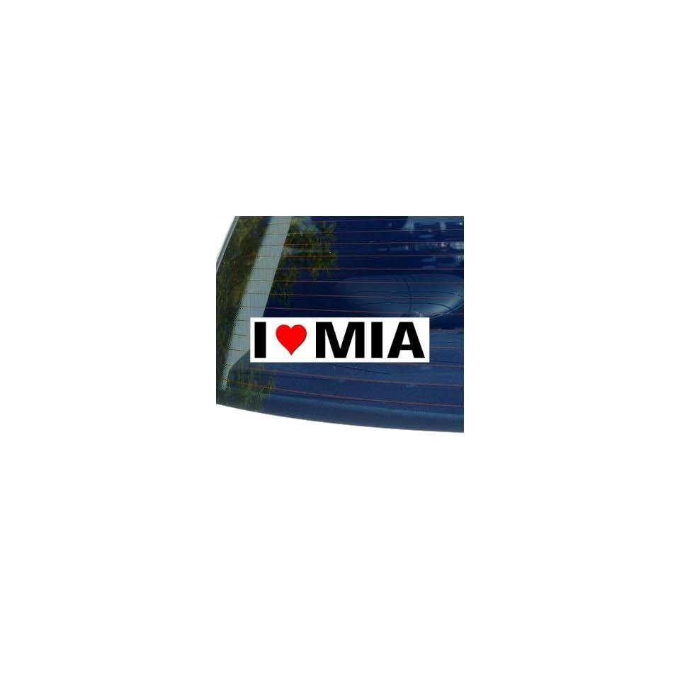 I Love Heart MIA   Window Bumper Sticker