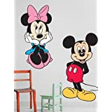 WALLMANTRA Mickey & Minnie Mouse Wall Decal Wall Sticker (Size: 12x18 Inches)