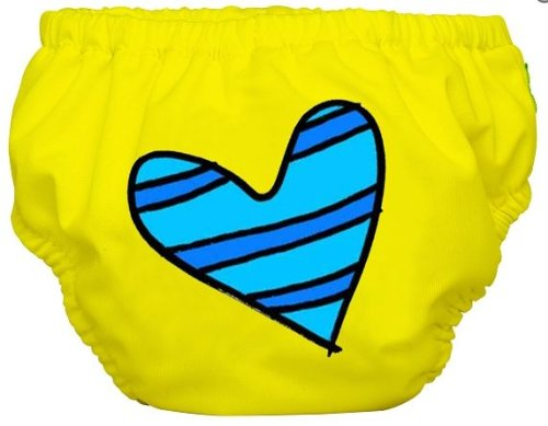 Charlie Banana Swim Diaper And Training Pants - Small (Blue Petit Coeur On Yellow) front-921906