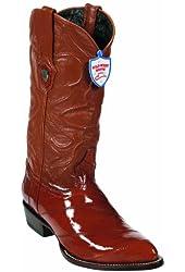 Eel Skin Western Style Boot, Cognac, J Toe, Leather Sole,