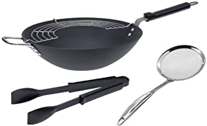 Calphalon Professional Hard Anodized Collector's Edition 4-Piece 12-Inch Flat Bottom Wok Set