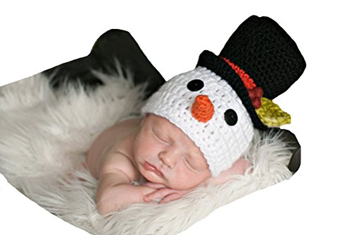 [CX-Queen Baby Photography Prop Crochet Knit Newborn Snowman Hat Cap] (Snowman Costume Hat)