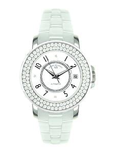André Belfort 410112 - Reloj analógico de mujer automático con correa de cerámica blanca - sumergible a 50 metros