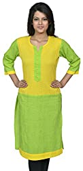 Devansh Women's Free Size Long Green & Yellow Shaded Stitched Cotton Kurtis