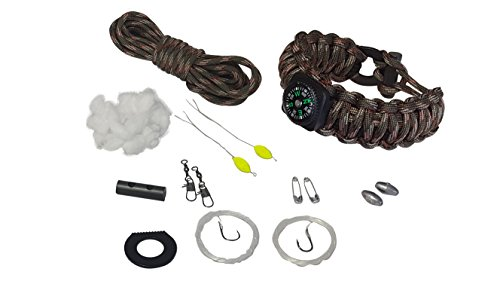Guardian Accessories Wilderness Survival Paracord Bracelet 17 Pc Kit Army Camo