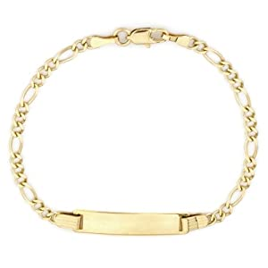 14k Yellow Gold Figaro Baby ID Bracelet, 6
