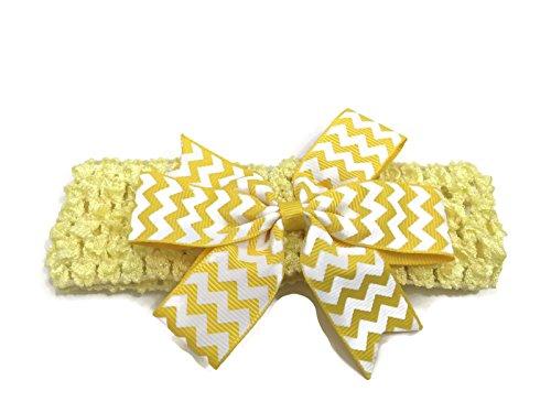 Rush Dance Chevron Zig Zag Sassy Stretch Baby Headband (Yellow & White) (Sassy Dance Costumes)