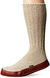 ACORN Unisex Slipper Sock, Grey Ragg Wool, L