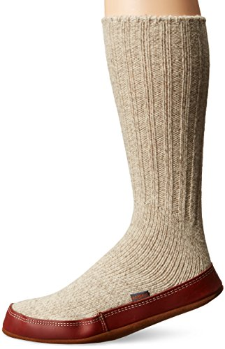 ACORN Unisex Sock Slipper, Grey Ragg Wool (2015), Large(10.5-11.5 Men's) B US