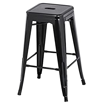 go2buy 6 PCs 26'' Metal Frame Bar Stools Vintage Counter Bar Stool Heavy Duty Black