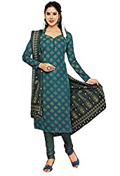 Salwar Studio Womens Cotton Salwar Dress Material (Sp-210 -Blue & Yellow -Free Size)