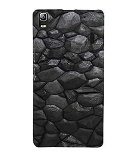 PrintVisa Charcoal Stone Pattern 3D Hard Polycarbonate Designer Back Case Cover for Lenovo A7000
