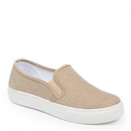 Ideal Shoes - Slip-on effetto glitter Samira, oro (Oro), 38