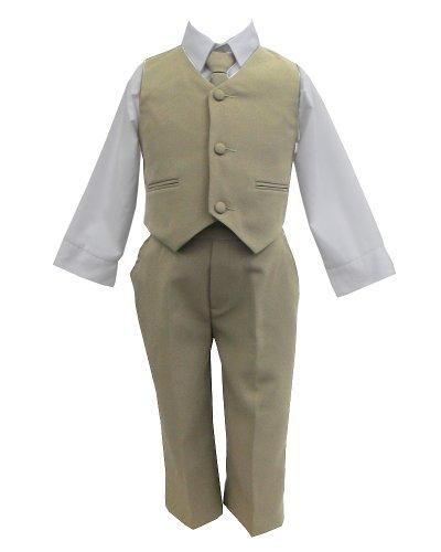 Khaki Beige & White Baby Boy & Boys Complete Special occasion suit, Shirt, Tie, Vest, Pants