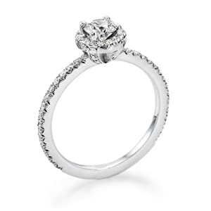 Certified, Round Cut, Solitaire Diamond Ring in 18K Gold / White (1/2 ct, I Color, SI1 Clarity)
