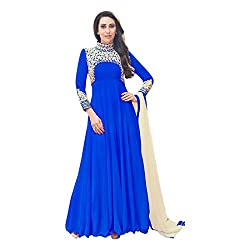 Regalia Ethnic New Collection Blue Embroidered Georgette Semistitched Dress Material With Matching Dupatta