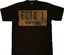 Ghostbusters Ecto-1 License Plate Black T-shirt Tee