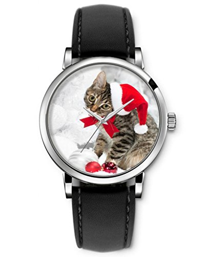 Sprawl Funny Watches For Teenage Girls Boys Analog Quartz Wrist Watch Black Genuine Leather Strap -- Naughty Cat In Christmas Hat front-999708