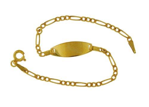 9ct Yellow Gold Children's Semi Hollow Figaro ID Bracelet 16cm/6.25