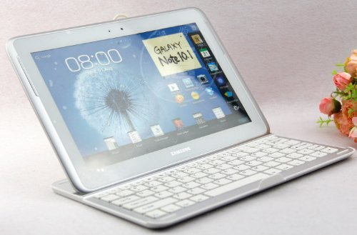 Everstar® Samsung Galaxy Note 10.1 N8000 N8010 N8013 Removable Qwerty Wireless Bluetooth 3.0 Keyboard Aluminum Case Stand (2012 Released) (White) (Not Compatible With Note 10.1 2014 Edition) front-210901