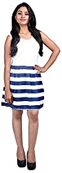 Midnight Fashionable Scoop Neck Sleeveless Spliced Striped Women's Dress (Large)